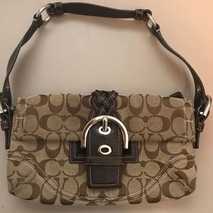 Coach brown canvas handbag